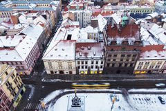 Old Town Hall on Republic Square in Pilsen - aerial view Stock Image