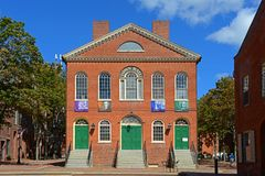 Old Town Hall, Salem, Massachusetts. Old Town Hall in Salem, Massachusetts, USA. This federal style building is the oldest surviving municipal building in Salem Royalty Free Stock Photo