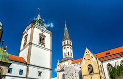 Old Town Hall and St. James church in Levoca, Slovakia. Old Town Hall and St. James church in Levoca. A UNESCO wold heritage site in Slovakia royalty free stock image