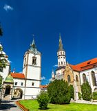 Old Town Hall and St. James church in Levoca, Slovakia. Old Town Hall and St. James church in Levoca. A UNESCO wold heritage site in Slovakia stock photo