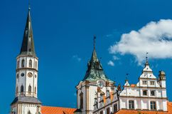 Old Town Hall and St. James church in Levoca, Slovakia. Old Town Hall and St. James church in Levoca. A UNESCO wold heritage site in Slovakia royalty free stock images