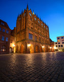 Old Town Hall and St. Nicolas Church in the evening, Stralsund, Stock Photography