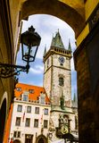 Old Town Hall, Stare Mesto,Prague. Old clock tower, in Stare Mesto. The tower was added in 1354, in gothic style, in the old center of Prague city of Czech Stock Images