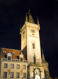 Old Town Hall Tower and Astronomical Clock at night Prague Czech Stock Image