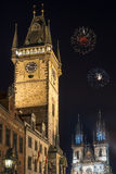 Old town hall tower and Tyn church in Prague at night Royalty Free Stock Photo