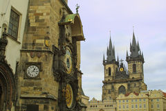 Old Town Hall and Tyn Cathedral in Prague Royalty Free Stock Photo