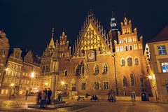 Old Town Hall in Wroclaw, night view Stock Photos