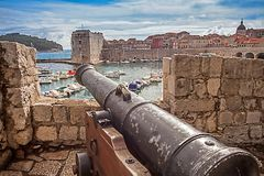 Old town and harbor of Dubrovnik. Croatia stock photo
