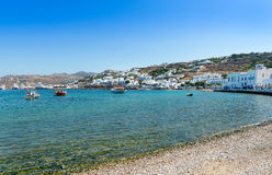 Old Town Harbor Mykonos Stock Photography