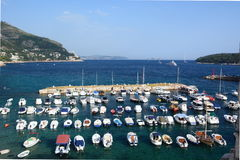 Old town harbor view from the walls. Dubrovnik. Croatia Stock Images