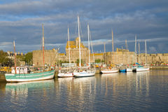 Old town harbour of  Saint Malo, France Royalty Free Stock Photography
