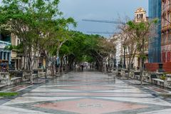 HAVANA, CUBA - OCTOBER 21, 2017: Old Town in Havana and one of the famous street - Paseo del Prado. Cuba. Old Town in Havana and one of the famous street - Paseo royalty free stock photo