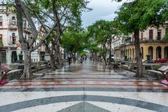 HAVANA, CUBA - OCTOBER 21, 2017: Old Town in Havana and one of the famous street - Paseo del Prado. Cuba. Old Town in Havana and one of the famous street - Paseo stock photo