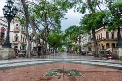 HAVANA, CUBA - OCTOBER 21, 2017: Old Town in Havana and one of the famous street - Paseo del Prado. Cuba. Old Town in Havana and one of the famous street - Paseo stock image