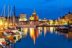 Old Town in Helsinki, Finland. Scenic summer evening panorama of the Old Port and Uspenski Orthodox Cathedral in the Old Town in Helsinki, Finland stock photography