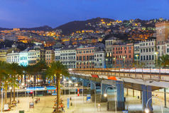 Old town and highway of Genoa at night, Italy. Royalty Free Stock Photo