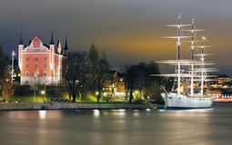 Old Town with historcal ship iin Stockholm, Sweden.  Royalty Free Stock Photos