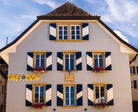 Old Town House with Shuttered Windows, Switzerland Royalty Free Stock Photos