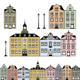 Old town houses. Old and historic houses in different colours, isolated on white background, objects are individually grouped and can be rearranged to change the royalty free illustration