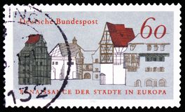 Old Town Houses, European Campaign for Urban Renaissance serie, circa 1981. MOSCOW, RUSSIA - FEBRUARY 21, 2019: A stamp printed in Germany, Republic shows Old royalty free stock images