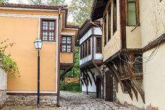 Old town houses Plovdiv. Beautiful cityscape of Plovdiv, Bulgaria, in the medieval part of the city called Old Town stock photography