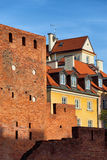 Old Town Houses and Wall in Warsaw Royalty Free Stock Images
