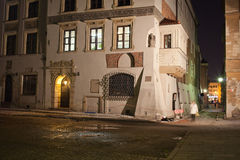 Old Town Houses in Warsaw at Night Royalty Free Stock Photo