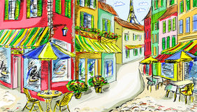 Old town - illustration Royalty Free Stock Photos