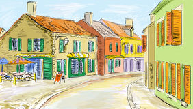 Old town - illustration Royalty Free Stock Photography