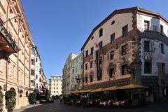 Old Town in Innsbruck. Herzog-Friedrich street in the centre of Innsbruck - Austria Stock Images