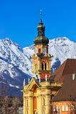 Old town in Innsbruck Austria. Old cathedral in Innsbruck Austria - architecture background royalty free stock photo