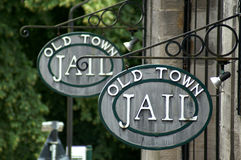 Old Town Jail sign Stock Photography