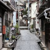 Old town in Japan. Onomichi, Japan - town in the region of Chugoku. Old town street royalty free stock images