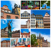 The old town with the Justitia statue in Frankfurt royalty free stock photography