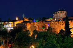 Old town Kaleici in Antalya, Turkey at night Royalty Free Stock Photos