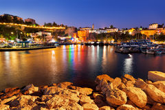 Old town Kaleici in Antalya, Turkey at night stock photography