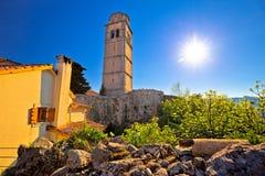 Old town of Kastav above Kvarner bay view. Opatija riviera of Croatia Royalty Free Stock Photos
