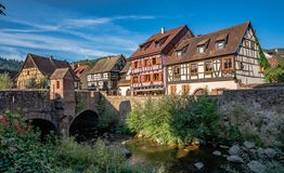 Old town Kaysersberg village in the Alsace. royalty free stock image