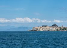 Old Town of Kerkyra on island of Corfu. View across water in port of Kerkyra on Corfu royalty free stock images