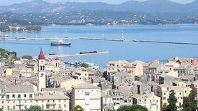 Old town Kerkyra and port Corfu stock video