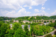 Old town and Kirchberg district in the City of Luxembourg Stock Photos