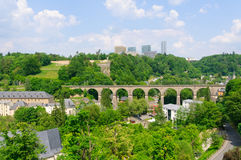 Old town and Kirchberg district in the City of Luxembourg Royalty Free Stock Photos
