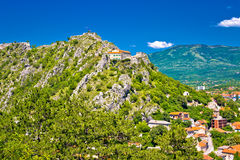 Old town Knin on the rock view Stock Images