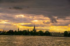 The old town of Konstanz on Constance lake at sunset Royalty Free Stock Photography