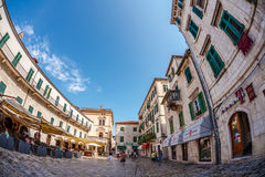 Old town of Kotor in fish-eye view Royalty Free Stock Image