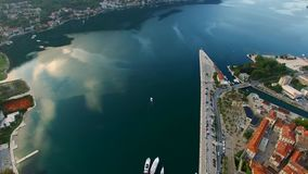 The Old Town of Kotor. Flying over the city. Aerial survey by a stock video