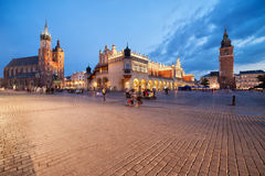 Old Town of Krakow at Dusk in Poland Royalty Free Stock Photography