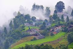 The old town in kunming Chaina. Shoot at the top of the mountain stock images