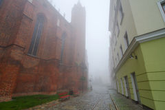 Old town of Kwidzyn in fog. Foggy scenery of Kwidzyn castle and cathedral, Poland Royalty Free Stock Photos