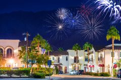 Old Town La Quinta Fireworks. La Quinta Fireworks California, United States. La Quinta Old Town Holidays New Year Event Fireworks. Coachella Valley Stock Photography
